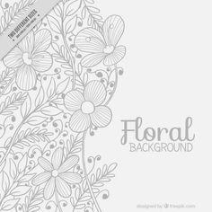 Руки drawn цветочный фон с листьями свободный Вектор