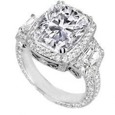 Chevron side diamonds vintage cushion Engagement Ring