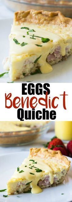 Eggs Benedict Quiche (and Recipe Video!) Eggs Benedict Quiche! This super easy to make quiche comes out with perfectly flakey crust, creamy egg and bites of canadian bacon. Not to mention it's smothered in an easy to make blender hollandaise sauce. Perfect for brunch and upcoming Mother's Day!