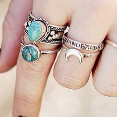 turquoise/wanderlust rings