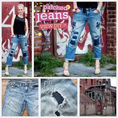 Patched jeans are a big trend for Fall. This borrowed from the boys style can be seen everywhere these days and this DIY Patched Jeans project will show you how to easily transform your old ripped jeans into cute and fashionable patched jeans.