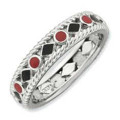 Sterling Silver Stackable Expressions Polished Red/Black Enameled Ring Shop4Silver. $31.36