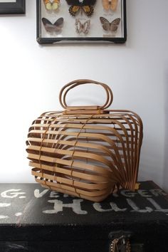 Vintage 1950s Japanese Bamboo Collapsable Bag.