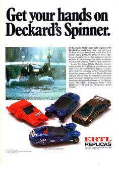 Ertl Blade Runner cars collection. [advert] -- 1982