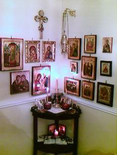 """The icon corner is a very special part of an Orthodox Christian home. It is a """"little church"""" where we are free of all earthly care just like when we go to Divine Liturgy on Sundays. We're encouraged to stand before our Icon corner and pray and meditate in the morning and in the evening or any time you are able to do so."""