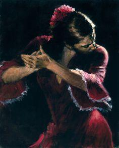 Fabián Pérez Flamenco Dancer V, pintura al óleo Giclee Prints Arte en lienzo de la decoración de la pared