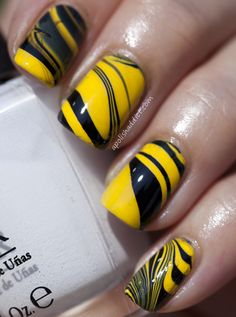 only if they would come out looking like these bumble bee inspired manicure. like