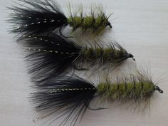 Fly+Fishing%2C+Wooly+Bugger+Fishing+Flies%2C+Black+and+Olive%2C+3+Fly+Selection