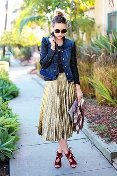 Liz of Late Afternoon in metallic skirt and denim/leather l wantering.com