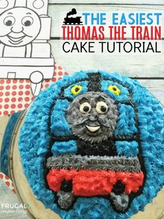 Thomas the Train Cake Tutorial. This is one of the simplest Character Cake Tutorials. We fit our train birthday party theme, but this cake can be done with your child's favorite character including Elmo, Paw Patrol, Dora and more. Thomas Birthday, Trains Birthday Party, Train Party, Birthday Party Themes, Birthday Cakes, Birthday Ideas, Make A Character, Simple Character, Character Cakes