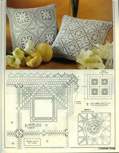 Square motifs for pillow, napkin, tablecloth,blanket...
