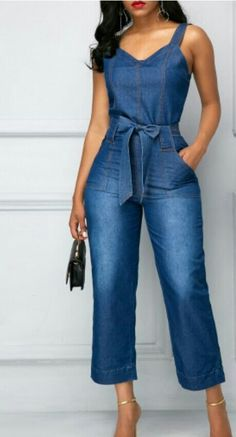 New-arrival belted open back blue pocket denim jumpsuit. Shion outfits make yo Diy Clothes, Clothes For Women, Denim Jumpsuit, Online Fashion Stores, Couture, Jeans Style, What To Wear, Party Dress, Casual Outfits
