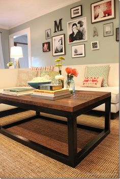 rustic coffee table like the wall for our formal living room