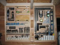 So neatly organized with drop down cabinets