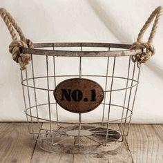 """Wire Baskets 11"""" No. 1 & Rope Handles (Save 33%). Kitchen"""