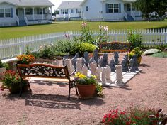 Outdoor chess set in the gardens at Kindred Spirits Country Inn - Cavendish, Prince Edward Island, Canada
