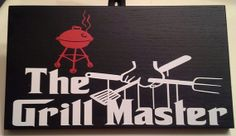 BBQ GRILLMASTER  wood vinyl sign. Great by StrayCatRusticDesign