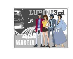 lupin 3d gruppo in rilievo su base wanted