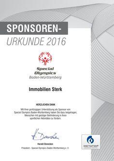 Auch in 2016 unterstützt die Immobilien Sterk GmbH & Co. KG aus Ravensburg wieder die Special Olympics Baden Württemberg bei der sportlichen Förderung von behinderten Menschen.