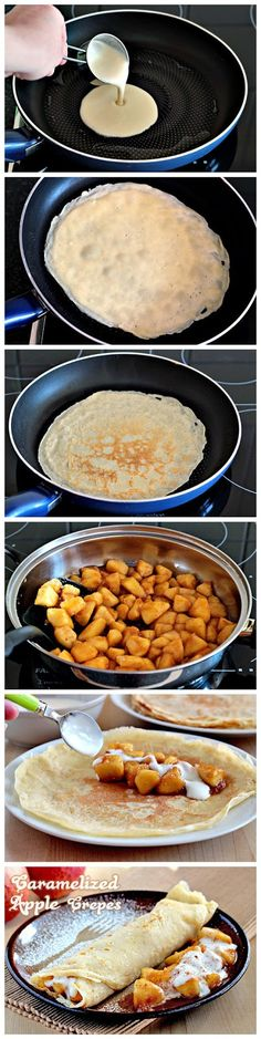 Caramelized Apple Crepes - yum.  Could also make caramelized banana crepes.  All can be made in advance.