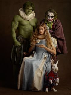 comic books Family Portrait is an amusing photo series created by French photographer Sacha Goldberger of superheroes and pop culture characters dressed up and posing Book Characters Dress Up, Character Dress Up, Comic Book Characters, Comic Books, Literary Characters, Comic Kunst, Comic Art, Arte Pop, Sacha Goldberger