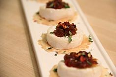 34 Degree Crisp, Baby Brie, Virginia Chutney Hot Peach, Fresh Thyme and Chili Flakes -- Delicious and Easy Appetizer