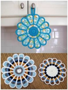 Crochet Pattern Flowers Crochet Potholder Hot Pad, flower pot holder - If you love crochet, you don't need to buy a plain old pot holder. You can crochet flower pot holder, which makes a great housewarming gift. Crochet Potholder Patterns, Crochet Mandala Pattern, Crochet Dishcloths, Crochet Flower Patterns, Crochet Doilies, Crochet Flowers, Pattern Flower, Crochet Geek, Crochet Home
