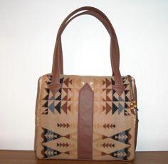c2d62dbd4574 Pendleton Wool Purse Handbag Shoulder Bag Leather Brown.  88.00