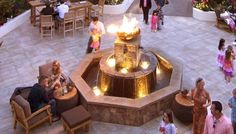 Font O Fire Firebowl as fountain centerpiece at BluEmber. The plaza fountain at BluEmber Restaurant in Rancho Mirage, CA was one of the first to incorporate my firebowls. A Font O' Fire Sculptural Firebowl is the centerpiece of the multi-level masonry fountain. At night, the fire fountain provides lighting and ambiance, by day it provides a warm gathering place.