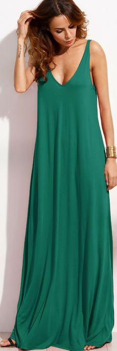 Double V-Cut Sleeveless Maxi Tank Dress