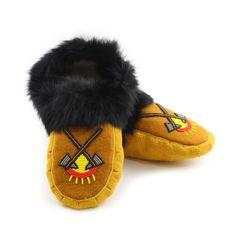 Size 9 - Men's Moose Hide and Black Rabbit Fur Moccasins - With Yellow, Red, Amber, Black, & Grey Beaded Sun & Axe Design - Kitigan #moccasins #rockyourmocs #mocmonday #ndn #native #aboriginal #handmade #oneofakind #ootd