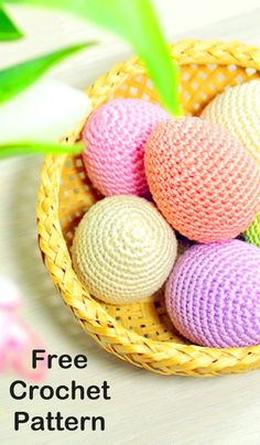 Easter is almost here! It's time to fill up our baskets with some colorful woolly crochet eggs! Crochet them around a plastic egg and fill… Easter Egg Pattern, Easter Crochet Patterns, Crochet Amigurumi Free Patterns, Crochet Bunny, Cute Crochet, Crochet Flowers, Crochet For Easter, Easy Crochet Projects, Crochet Crafts