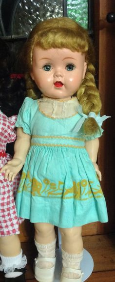~ I got a doll at the doll show & someone thought it was a saucy walker. She does walk, has teeth, and legs that bend, adjust. Old Dolls, Antique Dolls, Vintage Dolls, Pretty Dolls, Cute Dolls, Beautiful Dolls, Fisher Price, Girl Dolls, Baby Dolls