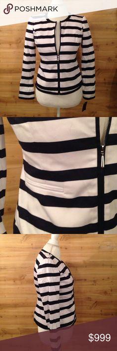 Lightweight Navy and White Striped Jacket Lightweight striped jacket, nwt. Size 4P jones wear a brand of jones New York. Stretch material. Jones New York Jackets & Coats