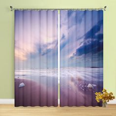 "Modern Decor Curtains Sunset Beach Seashell Living Room Grommet Top Window Curtains 2 Panel Set, 54""W x 84""L, Purple Curtains & Drapes Living Room White, White Rooms, Living Room Bedroom, Curtain Room, Curtain Lights, Window Drapes, Drapes Curtains, Purple Curtains, House Windows"