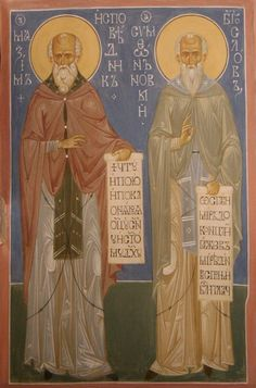 Symeon the New Theologian - Commemorated on March 12 and October (Icon of Christ, Panagia and St. Symeon the New Theologian tak. Fresco, Religion, Orthodox Icons, Saints, Spirituality, Princess Zelda, Pictures, Painting, Fictional Characters