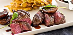 Venison medallions with figs & red wine syrup & potato rosti - New Zealand Womans Weekly. #fancyfood