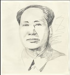 Mao 1973 graphite on paper 36 x 33 collection The Museum of Modern Art, New York, will be included in upcoming 2018 Andy Warhol Retrospective at The Whitney Museum of American Art, New York. Andy Warhol Art, Whitney Museum, Museum Of Modern Art, Moma, American Art, Graphic Art, Fine Art, Graphite, Drawings
