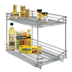 Lynk Professional Roll Out Double Shelf  Pull Out Two Tier Sliding Under Cabinet Organizer  Chrome  Multiple Sizes ** Click for more Special Deals #KitchenGadgets