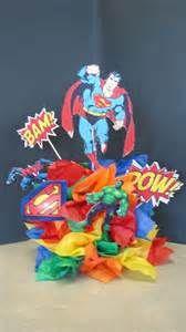 Super Man Super Hero Centerpieces by decorationmanievents@aol.com
