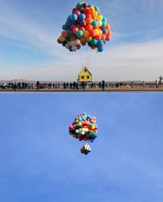 National Geographic launches a small house into flight using only balloons.
