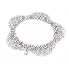 Pasquale Bruni Fiori in Fiore statement necklace, set with 258 pink sapphires that magically blend in among the 3,421 diamonds in white gold. (=)