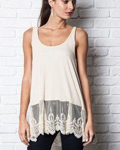 Tan DAKOTA VIOLA LOVE Lace Tunic Crochet Cream hem trim tank top blouse tee #DakotaViolaBloggerFavorite #BlouseTopTankTunic #Casual