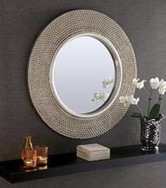 Rome Large Round New Wall Mirror Modern Champagne Silver Frame Art Deco Antique…                                                                                                                                                                                 Más