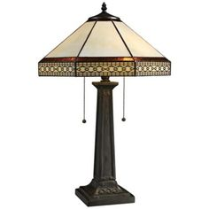 """Stone Tiffany Style Bronze 2-Light Table Lamp - 24"""" high. Shade is 16"""" wide and 10"""" high. Base is 8"""" wide. Bridget's room."""