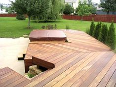 Multi-level IPE Spa Deck - low-to-grade for seamless flow to the hot tub and yard