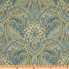Waverly Swept Away Paisley Chambray from @fabricdotcom  Screen printed on a cotton/linen blend this medium weight fabric is very versatile. This fabric is perfect for window treatments (draperies, valances, curtains, and swags), bed skirts, duvet covers, pillow shams, accent pillows, tote bags, aprons, slipcovers and upholstery. Colors include shades of blue with khaki, ivory and olive.