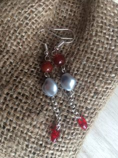 Red Silver Dangle Earrings, Gift For Her, Valentines Gift, UK Shop by MadeByMissM on Etsy