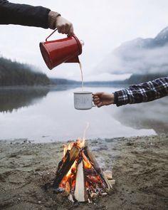 Morning cup of joe on the beach