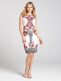 This intricately designed sheath masterpiece is a must-have this Spring. The printed lace mixed with a classic floral print creates a mirror image for a modern twist on a timeless look....3010101-0801